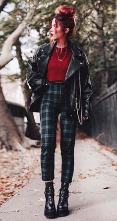 29 Cool Ways to Wear Plaid Pants Oversized biker jacket with mix st. - 29 Cool Ways to Wear Plaid Pants Oversized biker jacket with mix stitch jumper, green plaid tartan trousers & platform booties by luanna – Source by chocolatefabric - Edgy Outfits, Fall Outfits, Cute Outfits, Fashion Outfits, Fashion Edgy, Fashion Black, Grunge Punk Fashion, Fashion Boots, Fashion Clothes