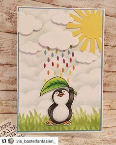 Ich bin verliebt! #zauberhafte #grusskarte von @ivis_bastelfantasien_  #repost @kulricke #stempel #kreativ #pinguin