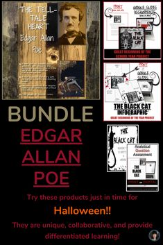 POE BUNDLE (The Black Cat and Tell-Tale Heart) PURCHASE THIS BUNDLE BEFORE OCTOBER 22, 2018 AND RECEIVE AN INFOGRAPHIC AND AN ANALYTICAL QUESTION ON THE TELL-TALE HEART FOR FREE!!! On October 23 I will upload the new products and the price will change to reflect the new additions. Try these different products just in time for Halloween!!  They are unique, collaborative, and provide differentiated learning! #halloween, #Poe, #differentiatedlearning Teaching Short Stories, Teaching Resources, Teaching Ideas, Teaching Tools, High School Literature, Ap Literature, Teaching Language Arts, English Language Arts, Interactive Infographic