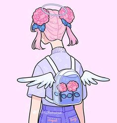 Angel backpack😇💕 GUYS IM NOT DEAD YAY I drew a second rose-buns-backpack-thingy today after a long day of school and music rehearsal. I'm not sure if I'll be posting as often as I did before but we shall see 😬 Aesthetic Drawing, Aesthetic Art, Aesthetic Anime, Arte Do Kawaii, Kawaii Art, Cute Art Styles, Cartoon Art Styles, Arte Copic, Posca Art