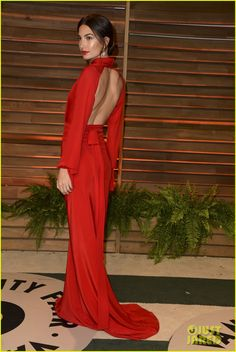 Lily Aldridge is the lady in red at the 2014 Vanity Fair Oscar Party hosted by Graydon Carter held after the 2014 Oscars on Sunday night (March 2) in West Hollywood, Calif.
