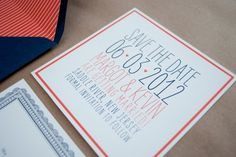 Modern and Bright Save the Date - Invitation Photos by Fourteen-Forty   Photography by Reena Rose Photography  #modernwedding #barnwedding #navy #persimmon #fourteenforty www.1440nyc.com/margot-kevin-wedding-saddle-river-inn