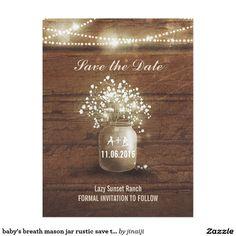 baby's breath mason jar lights bridal shower card | mason jar, Baby shower invitations