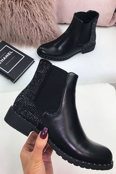 DETAILS Say hello to your everyday winter boots! The Jasmin Boots feature diamanté and stud detailing. Style these with jeans and a chunky knit for the day time, or an LBD for heading out. Sock Shoes, Shoe Boots, Shoes Sandals, Heels, Dress Shoes, Black Chelsea Boots, Black Ankle Boots, Crazy Shoes, Me Too Shoes