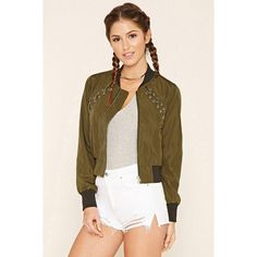 Forever21 Crisscross-Front Bomber Jacket (1,535 INR) ❤ liked on Polyvore featuring outerwear, jackets, zip bomber jacket, forever 21, forever 21 jackets, blouson jacket and flight jacket