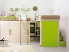 Innovative Kids Loft Double Beds by TumideiSPA : Smart Kids Bedroom With Two Loft Bed Brownbed Cover Small Cabinet And Hidden Desk With Gree. Space Saving Beds, Space Saving Furniture, Furniture Ideas, Compact Furniture, Bedroom Furniture, Furniture Design, Beds For Small Spaces, Small Rooms, Double Loft Beds