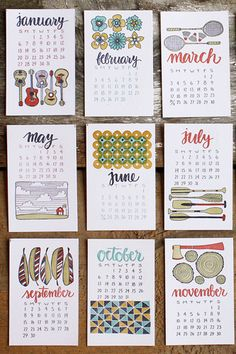 2013 Letterpress Calendar by on Etsy.the cutest! Cool Calendars, Desk Calendars, Monthly Calendars, Photo Main, 2013 Calendar, Calendar Design, Lettering, Typography, Bullet Journal