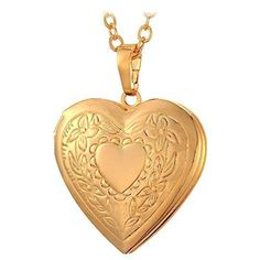 Women 18K Gold Plated Heart Photo Locket Pendant Necklace Gift Girl Jewelry Love #U7FashionJewelry