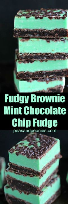 Mint Chocolate Chip Fudge Brownies, Desserts, Mint Chocolate Chip Fudge over incredibly fudgy and chocolaty brownies is the best combo ever. Any mint chocolate chip fan will love this easy dessert. Desserts Nutella, Mini Desserts, Easy Desserts, Delicious Desserts, Yummy Food, Delicious Cookies, Tasty, Summer Desserts, Plated Desserts