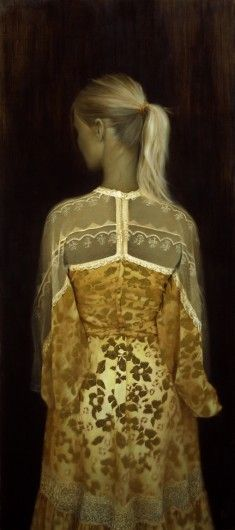 """Brad Kunkle ~ """"The Gold Dress"""", 47 x 21 inches, Oil and gold leaf on linen, Private collection"""