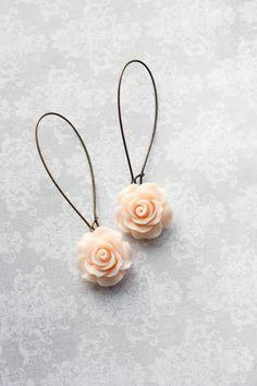 Light Peach Rose Earrings Long Dangle Earrings by apocketofposies