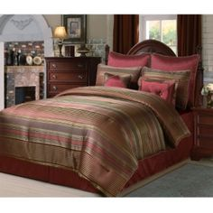@Overstock - Complete your bedroom decor with this Tuscan comforter set. This bedding ensemble showcases a striped design in rich red and gold hues.   http://www.overstock.com/Bedding-Bath/Tuscan-8-piece-Comforter-Set/5578067/product.html?CID=214117 $53.99