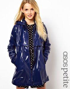 ASOS PETITE Exclusive Raincoat With Stripe Lining --- England, just 1 month and 5 days. so closer. Rain Fashion, Rainy Day Fashion, Latex Fashion, Women's Fashion, Fashion Design, Vinyl Raincoat, Pvc Raincoat, Hooded Raincoat, Festival Raincoat