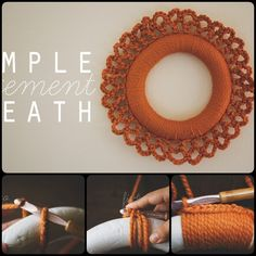 Crochet Simple Statement Wreath with Free Pattern. Crochet wreaths are fun to ma… Crochet Simple Statement Wreath with Free Pattern. Crochet wreaths are fun to make, which are also quite special than other types wreaths. Thanksgiving Crochet, Crochet Fall, Holiday Crochet, Diy Crochet, Crochet Crafts, Yarn Crafts, Crochet Projects, Crochet Wreath, Crochet Flowers