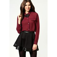 Adele Chiffon Long Sleeve Blouse With Chest Pockets (1.445 RUB) ❤ liked on Polyvore featuring tops, blouses, red chiffon blouse, long sleeve chiffon blouse, red blouse, crop top and sexy shirts