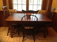 all wood kitchen table with tapered legs from James+James
