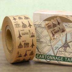 Season Cartonnage Eiffel Tower Kraft Deco Tape Sticker   nothingelegant - Paper on ArtFire