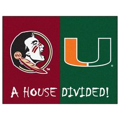 Florida State Seminoles / Miami Hurricanes House Divided NCAA All-Star Floor Mat (34x45)
