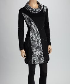 Black & White Floral Patchwork Cowl Neck Tunic | Daily deals for moms, babies and kids