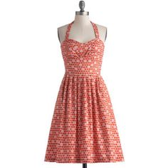 Bea & Dot Fruits Mid-length Halter A-line Fruit Cart Dress