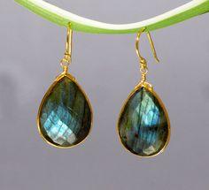 Blue Labradorite earrings - Gemstone earrings - gold drop earrings - Large Gemstone Earrings - Statement Earrings - Dangle Earrings by DaniqueJewelry on Etsy https://www.etsy.com/listing/100552011/blue-labradorite-earrings-gemstone