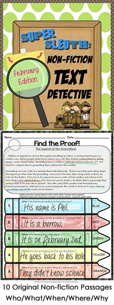 Ten original non-fiction text passages with who/what/when/where/why questions & using color crayons, I am going to adapt this for History lessons. Find evidence to support 5 Ws and then write in own words with supporting evidence. Third Grade Reading, Student Reading, Teaching Reading, Teaching Tips, Second Grade, Reading School, Reading Groups, Learning, Reading Strategies