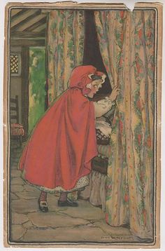 1916 Swift Premium Fairy Tale Calendar Art Little Red Riding Hood | eBay - Jessie Wilcox Smith