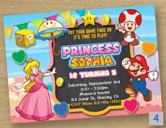 Super Mario Invitation Peach Princess Birthday Party Card Chalkboard Invite Custom