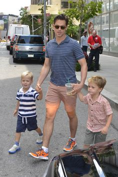 Daddy duty! Matt Bomer spotted in NYC with his twin boys