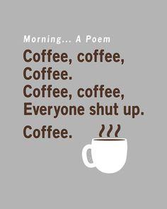 """""""Coffee Poem"""" grey t-shirt.  Funny coffee tees."""