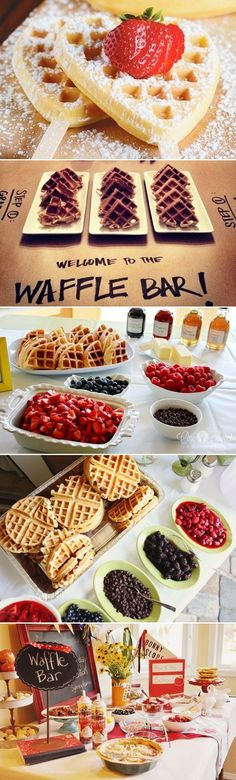25 Fun Dessert Bar Alternatives That Will Get your Guests Involved - Waffle Bar! Great for a bridal shower brunch Birthday Brunch, Easter Brunch, Sunday Brunch, Birthday Parties, Birthday Breakfast, Brunch Recipes, Breakfast Recipes, Breakfast Buffet, Brunch Buffet