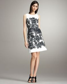 Signature Peter Som black and white in a chic bamboo print dress. Pop it with red shoes for a fun day look! $960.00