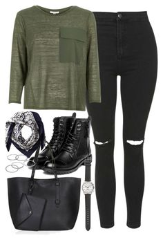 """Outfit for university"" by ferned on Polyvore featuring Topshop, River Island, yeswalker, Valentino, Apt. 9 and J.Crew"