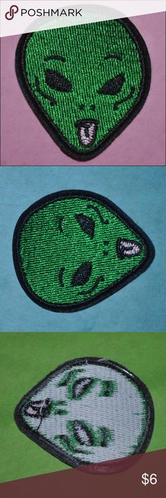 Wassup Alien Patch BRAND NEW - iron on style // tags: aliens stoned funny humor silly unisex unique extraterrestrial et green men man little small patches nwt fun fashion customize custom accessories accessory tongue nice quality stitched pink color space ufo ufos creep creeper creepy spooky spook dark alternative punk goth rock classic xfiles x-files gothic psycho weirdo weird bizarre strange stranger scare wear scary rebellious rebel hat jacket bag pack collar cool awesome rad neat hippie…