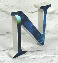 These are lovely Solar System Wooden Letters, Perfect for Planets & Space themed Bedrooms. *Personalised option available* My favourite paint for a quality finish on the Letters is the lovely Farrow &Ball Eggshell, F&B Undercoat all over & Cornforth White on sides & back - 3 coats of Cornforth Wh