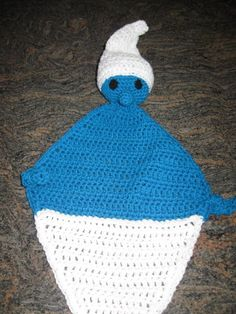 Crochet Smurf  Gnome Baby Lovey - Security Blanket. $25.00, via Etsy.