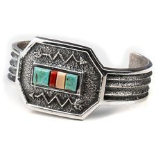 Tribal Inlay Tufa Cast Sterling Silver .925 Navajo Bracelet by Aaron Anderson