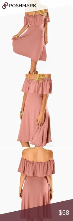 MAUVE OFF THE SHOULDER DRESS Lyss Loo off the shoulder dress with ruffle in mauve.  Made In:?Made with Love in the U.S.A. Fabric Content:?95% Rayon 5% Spandex Sizes:?S-M-L-XL Dresses Midi