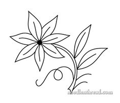 Free Hand Embroidery Pattern: Single Flower, good site with lots of embroidery designs