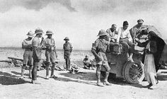 By the end of 1917 victory was in sight in Mesopotamia and the Turks were finally beaten by a crushing defeat at Khan Bagdadi on March 27, 1918. The British success was greatly helped by the increased use of armoured cars, one of which can be seen in the top photograph after rounding up Turkish and Arab prisoners. | Flickr - Photo Sharing!