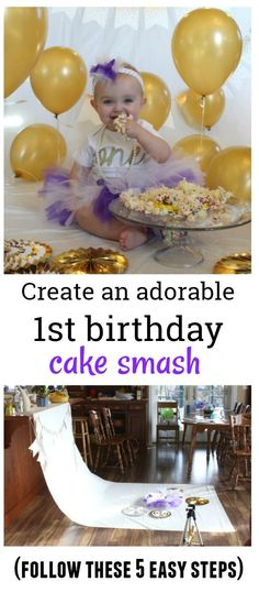 Follow these 5 easy steps to create the perfect first birthday cake smash photo shoot.