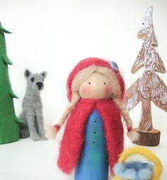 little red riding Hood Wool needle Felted van madamecraig op Etsy