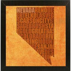 "Frame USA Nevada State Words Framed Print 11.75""x11.75"" by David Bowman"