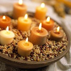 Fall Candles nestled in colorful popcorn seeds!