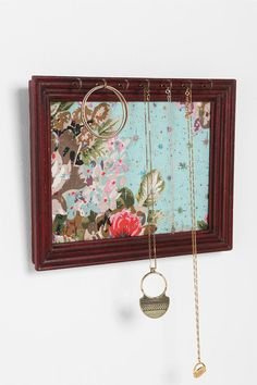 Fabric & Frame Jewelry Holder - Ok, Urban Outfitters, I am copying you and making this for myself. Just need a frame, fabric, and - Jewelry Hanger, Jewelry Stand, Hang Jewelry, Jewelry Box, Jewelry Making, Fun Crafts, Diy And Crafts, Arts And Crafts, Budget Crafts