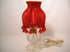 Vintage Victorian Glass Lamp/Underwriters Lab Glass Crystal Lamp/Red Tasseled Lamp And Shade by SeaPillowTreasures on Etsy