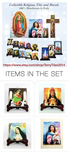 Christian collectible tiles by TerryTiles2014 by terrytiles2014 on Polyvore featuring arte, christian, handmade and religious