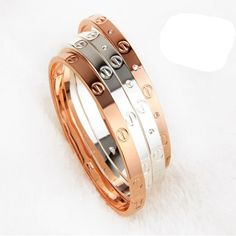 2016 Trendy Rose Gold Silver Bracelet for Women Bangle Lover Bracelet Jewelry Titanium Love Bracelet Bangle Pulseiras H0009 -- Find out more by clicking the VISIT button