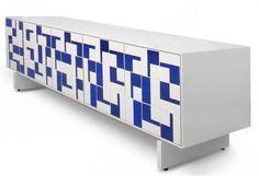 o buffet projetado pelo estudiobola, com azulejos originais de Athos Bulcão