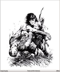 Frank Frazetta Paintings, Art, Pictures, Gallery, QMan_FF_Legacy_580_Tarzan_and_the_Castaways